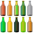 Set Of Colorful Beer Glass Bottles Isolated On White Background