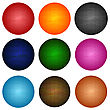 Set Of Colorful Brick Spheres Isolated On White Background stock vector