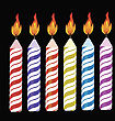 Set Of Colorful Burning Retro Candles Isolated On Black Background