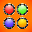 Set Of Colorful Buttons Isolated On Orange Background