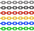 Set Of Colorful Chain Iaolated On White Background