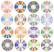 Set Of Colorful Different Compact Discs Isolated On White Background