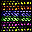 Set Of Colorful Digital Numbers Isolated On Dark Background