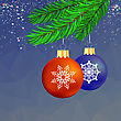 Set Of Colorful Glass Balls On Blue Polygonal Starry Background. Christmas Balls And Green Fir Bbranch