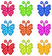 Set Of Colorful Hand Drawn Butterflies Isolated On White Background - Vector