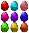 Set Of Colorful Polygonal Easter Eggs Isolated On White Background
