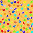 Set Of Colorful Stars On Orange Background. Seamless Starry Pattern