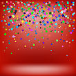 Set Of Colorful Stars On Soft Red Background. Starry Pattern