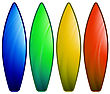 Set Of Colorful Surfboards Isolated On White Background