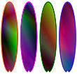 Set Of Colorful Surfboards Isolated Opn White Background