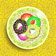Set Of Colorful Sweet Donuts On White Ornamental Plate