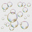 Set Of Colorful Transparent Foam Bubbles Isolated On Checkered Background