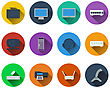 Set Of Computer Icons In Flat Design. EPS 10 Vector Illustration With Transparency