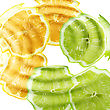 Set Of Cross A Citrus Fruits Under Water. Abstract Background. Close-up. Studio Photography stock image