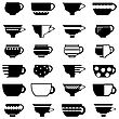 Set Of Cup Silhouettes Isolated On White Background stock vector