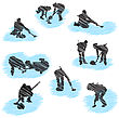 Set Of Curling Player Grunge Silhouettes. Fully Editable EPS 10 Vector Illustration