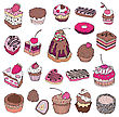 Set Of Cute Cake. Multicolored Vector Illustration stock illustration