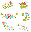 Set Of Cute Floral Bouquets And Wreaths stock vector