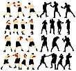 Set Of Detail Boxing Silhouettes. Fully Editable EPS 10 Vector Illustration stock vector
