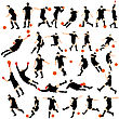 Set Of Detail Soccer Silhouettes. Fully Editable EPS 10 Vector Illustration