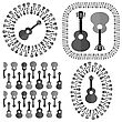 Set Of Different Acoustic Guitars Silhouettes Isolated On White Background. Musical Pattern
