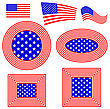 Set Of Different American Flag Design Elements Isolated On White Background
