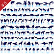Set Of Different Animals, Birds, Insects And Fishes Vector Silhouettes