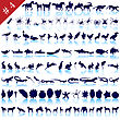Set Of Different Animals, Birds, Insects And Fishes Vector Silhouettes stock illustration