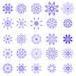 Set Of Different Blue Snowflakes Isolated On White Background