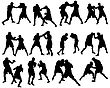 Set Of Different Boxing Silhouettes. Vector Illustration.