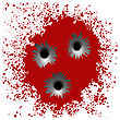 Set Of Different Bullet Holes Isolated On Red Blood Splatter Background stock illustration