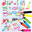 Set Of Different Colors Markers And Marks stock illustration