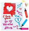 Set Of Different Colors Markers And Marks - Sketch Elements For Valentines Day stock vector
