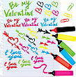 Set Of Different Colors Markers And Marks For Valentine`s Day Design stock illustration