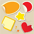 Set Of Different Colors Stickers With Twisted Corners - Oval, Round, Square, Star And Heart