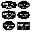 Set Of Different Dark Stickers Isolated On White Background. Black Fridays Labels