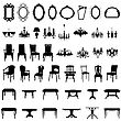 Set Of Different Furniture Silhouettes. Vector Illustration.