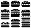 Set Of Different Hamburger Icons Isolated On White Background. Symbol Of Fast Food