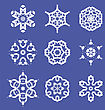 Set Of Different Ornamental Rosettes Isolated On Blue Background stock vector
