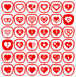Set Of Different Red Hearts Icons Isolated On White Background