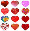 Set Of Different Red Hearts. Romantic Symbol Of Love stock illustration