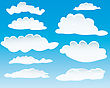 Set Of Different Shape Of Clouds For Design Usage stock illustration
