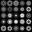 Set Of Different Tribal Rosette Tattoo Design Isolated On Black Background. Polynesian Design