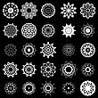 Set Of Different Tribal Rosette Tattoo Design Isolated On Black Background. Polynesian Design stock vector