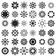 Set Of Different Tribal Rosettes Tattoo Design Isolated On White Background. Polynesian Design stock illustration