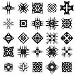 Set Of Different Tribal Rosettes Tattoo Design Isolated On White Background. Polynesian Design