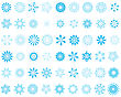 Set Of Different Vector Snowflakes In Blue-white Color