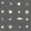 Set Of Different White Lights Isolated On Grey Checkered Background