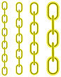 Set Of Different Yellow Metal Chains Isolated On White Background