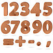 Set Of Digits And Punctuation Signs In Wood Grain Textured Style